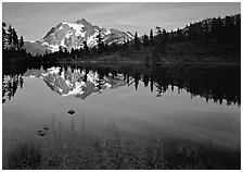 Mount Shuksan and Picture lake, sunset,  North Cascades National Park.  ( black and white)