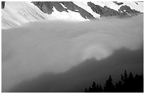 Sun projected on clouds filling Cascade River Valley,. Washington, USA. (black and white)
