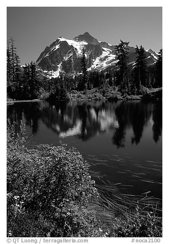 Mount Shuksan and Picture lake, mid-day, North Cascades National Park.  (black and white)