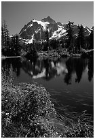 Mount Shuksan and Picture lake, mid-day, North Cascades National Park. Washington, USA. (black and white)