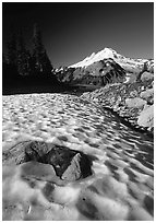 Neve and Mount Baker in the distance. Washington ( black and white)