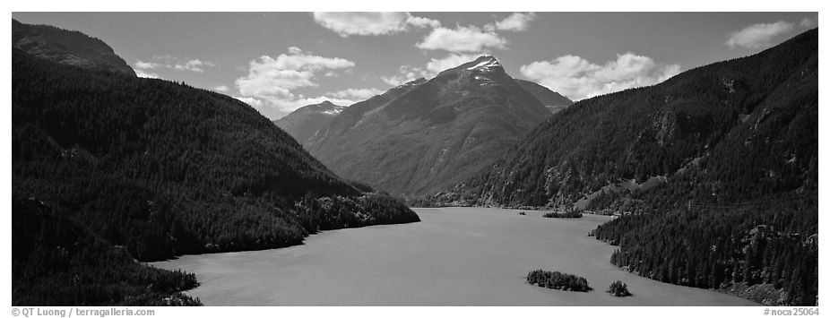 Turquoise colored lake and mountains, North Cascades National Park Service Complex.  (black and white)