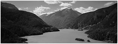 Turquoise colored lake and mountains, North Cascades National Park Service Complex.  (Panoramic black and white)