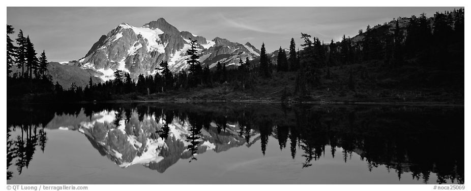Lake with mountain reflection. North Cascades National Park (black and white)