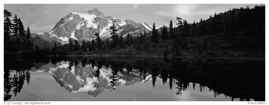 Mount Shuksan reflected in lake at sunset,  North Cascades National Park.  (black and white)