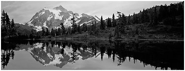 Miror reflection of Mount Shuksan.  (Panoramic black and white)