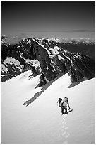 Ascending Sahale Peak,  North Cascades National Park. Washington, USA. (black and white)