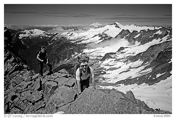 Mountaineers on ridge below  summit of Sahale Peak, North Cascades National Park.  (black and white)