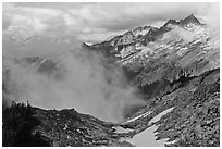 Mountains and clouds above South Fork of Cascade River, North Cascades National Park.  ( black and white)
