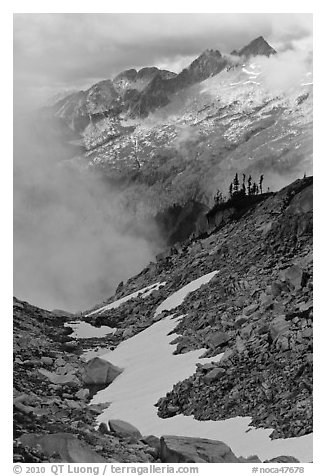 Alpine scenery in unsettled weather, North Cascades National Park.  (black and white)