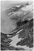 Alpine scenery in unsettled weather, North Cascades National Park. Washington, USA. (black and white)