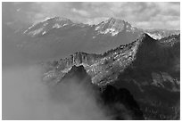 Mountain ridges and clouds, North Cascades National Park.  ( black and white)