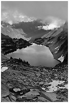 Hidden Lake below low cloud ceilling, North Cascades National Park.  ( black and white)