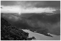 Sunset from Hidden Lake Peak, North Cascades National Park.  ( black and white)