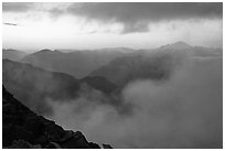 Clouds and ridges at sunset, North Cascades National Park.  ( black and white)