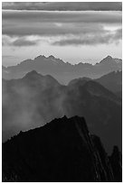 Jagged mountain ridges at sunset, North Cascades National Park.  ( black and white)