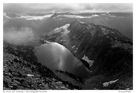 Hidden Lake with moonlight reflected, North Cascades National Park.  (black and white)
