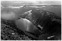 Hidden Lake with moonlight reflected, North Cascades National Park.  ( black and white)