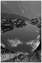 Hidden Lake, with clouds reflected, North Cascades National Park.  ( black and white)