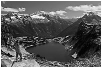 Hiker stands above Hidden Lake, North Cascades National Park.  ( black and white)