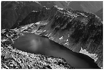 Hidden Lake from Hidden Lake Peak, North Cascades National Park.  ( black and white)