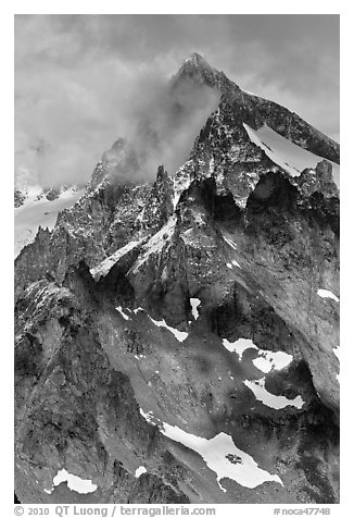 Cloud-shrouded Eldorado Peak, North Cascades National Park.  (black and white)