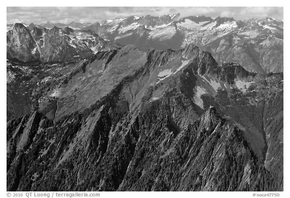 View towards the Pickets, North Cascades National Park.  (black and white)