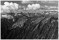 Mountains and afternoon cumulus clouds, North Cascades National Park.  ( black and white)