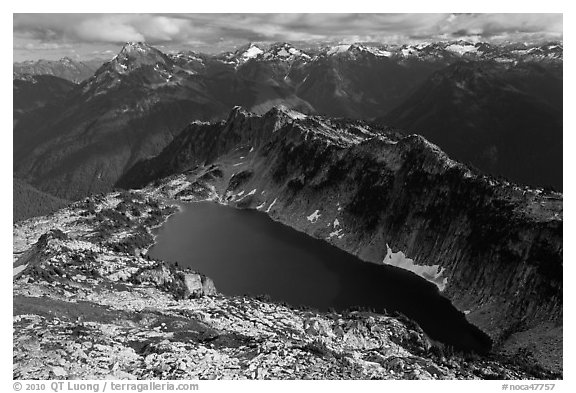 Hidden Lake and Glacier Wilderness Peaks, North Cascades National Park.  (black and white)