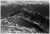 Hidden Lake and Glacier Wilderness Peaks, North Cascades National Park.  ( black and white)