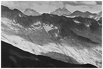 Distant peaks in dabbled afternoon light, North Cascades National Park.  ( black and white)
