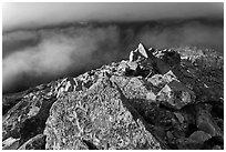 Rocky ridge and clouds, Hidden Lake Peak, North Cascades National Park.  ( black and white)