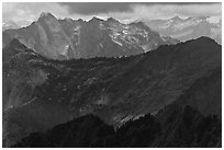 Distant ridges in storm light, North Cascades National Park.  ( black and white)