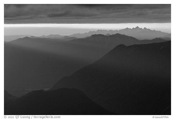 Layered ridges at sunset, North Cascades National Park.  (black and white)