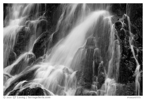 Water falling over volcanic rock, North Cascades National Park.  (black and white)