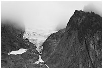 Hanging glacier seen from below, North Cascades National Park. Washington, USA. (black and white)