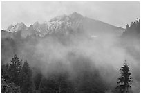 Peaks and fog, North Cascades National Park.  ( black and white)