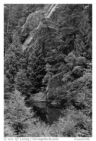Skagit River gorge, North Cascades National Park Service Complex.  (black and white)