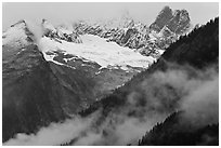 Picket Range from Mt Terror to Inspiration Peak, North Cascades National Park. Washington, USA. (black and white)