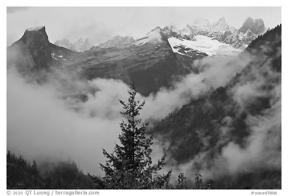 The Picket Range and clouds in rainy weather, North Cascades National Park.  (black and white)