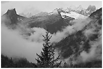 The Picket Range and clouds in rainy weather, North Cascades National Park.  ( black and white)