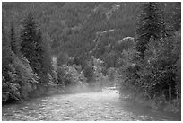Fog rising from the Skagit River, North Cascades National Park Service Complex. Washington, USA. (black and white)