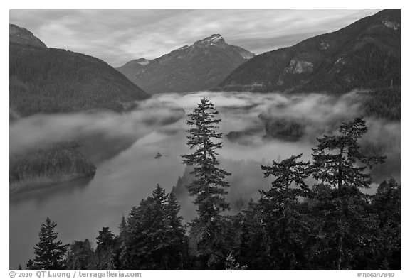 Diablo Lake and fog, dawn, North Cascades National Park Service Complex.  (black and white)