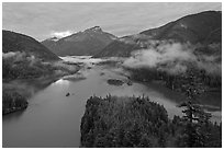 Sunrise, Diablo Lake, North Cascades National Park Service Complex. Washington, USA. (black and white)