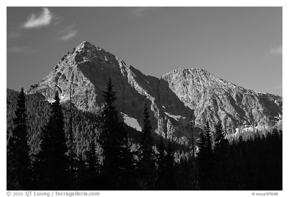 Greybeard Peak, morning, North Cascades National Park.  (black and white)