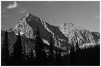 Fisher Peak and Mt Ariva, morning, North Cascades National Park.  ( black and white)