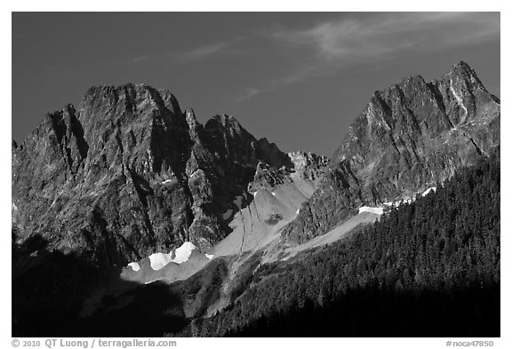 Rocky peaks on the eastern side of the range, North Cascades National Park.  (black and white)