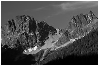Rocky peaks on the eastern side of the range, North Cascades National Park.  ( black and white)
