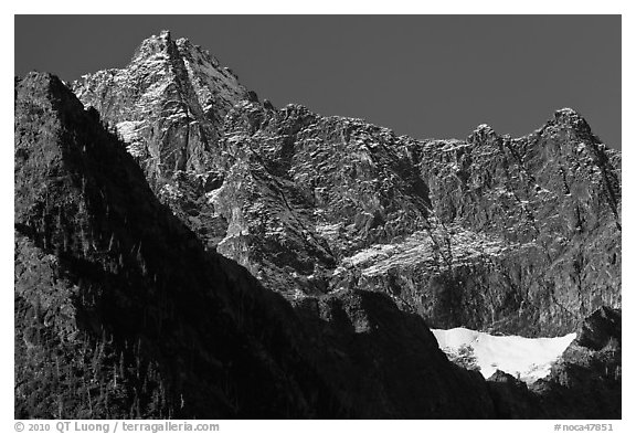 Mount Benazarino, morning, North Cascades National Park.  (black and white)