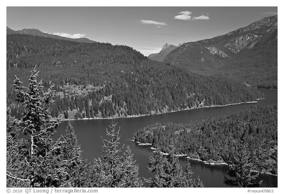 Ross Lake, morning,  North Cascades National Park Service Complex.  (black and white)